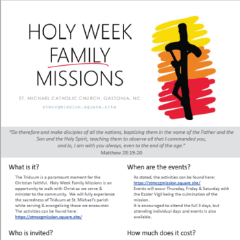 Holy Week Family Missions - All Are Welcome!