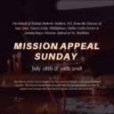 Mission Appeal Sunday at St. Matthias July 28/29, 2018