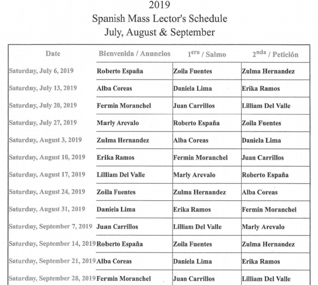 2019 Spanish Mass Lector's Schedule July-September