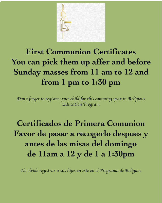 First Communion Certificates + Certificados de Primera Comunion