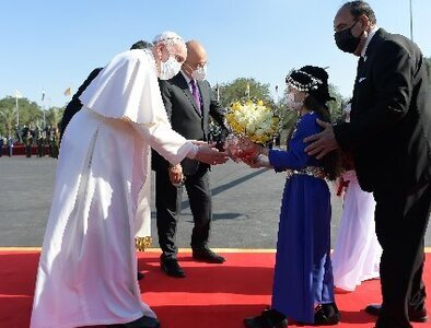 Pope arrives in Iraq, promoting peace, tolerance, equality
