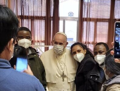 Pope visits Vatican vaccination clinic for the poor