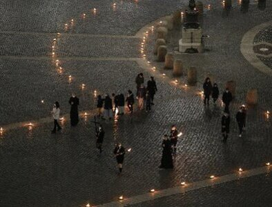 Pope leads Via Crucis with young people in torch-lit St. Peter's Square