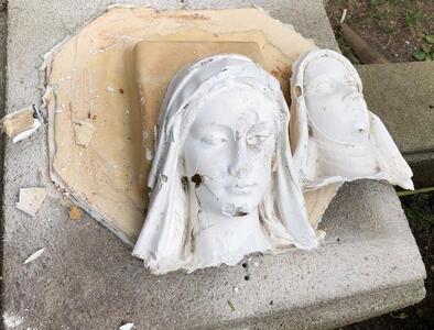 Police investigate destruction of two statues that stood outside a church