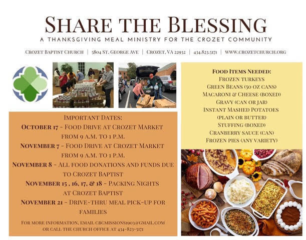 Share the Blessing Thanksgiving Food Drive--in cooperation with Crozet Baptist Church