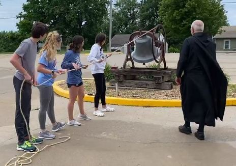 Youth Group Rings the Church Bell with Fr Albert
