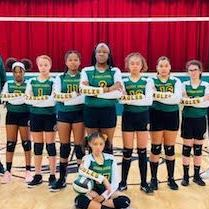 St. John's seventh grade girl's volleyball team picture in the school's gym.
