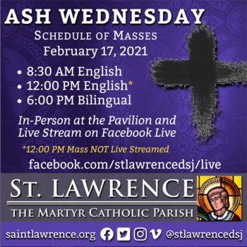Ash Wednesday Bilingual Live Stream Mass OUTDOORS