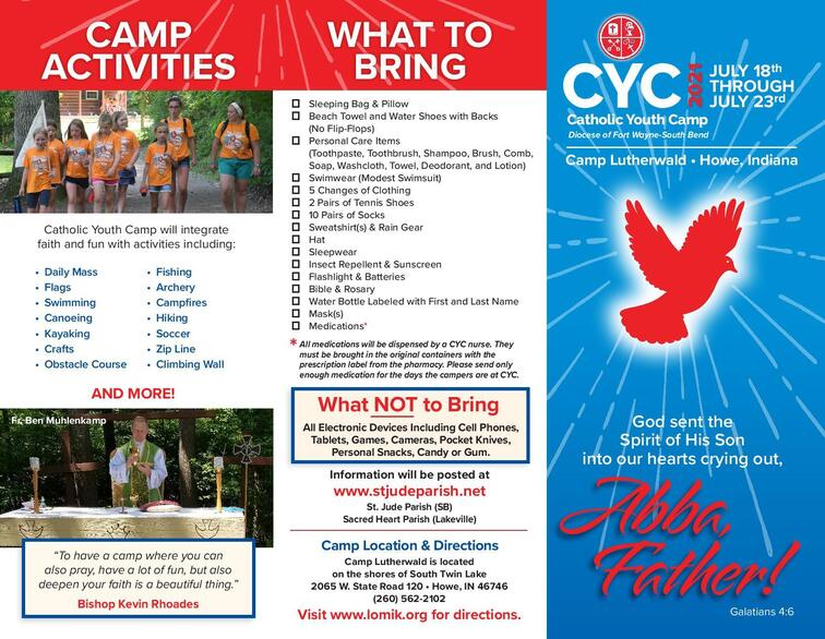 CYC (Catholic Youth Camp) for students entering 3rd, 4th, and 5th grade
