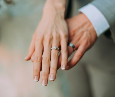 Husband and Wife showing their hands with their wedding rings