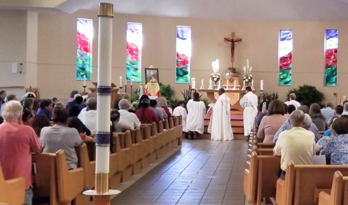 The inside of the church during mass.