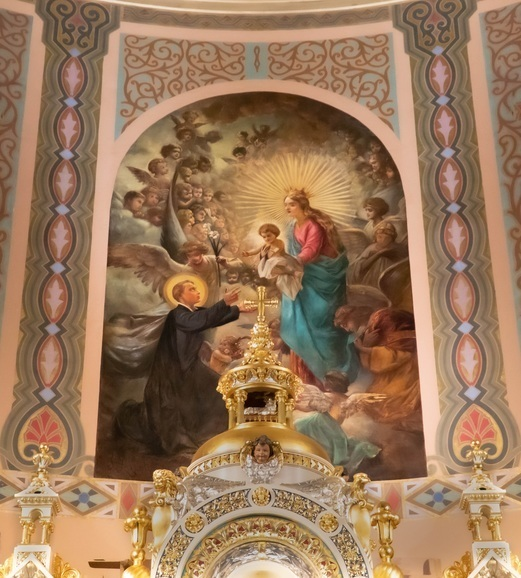 Mural of our school patron St. Stanislaus Kostka above the high altar in St Stanislaus Kostka Church