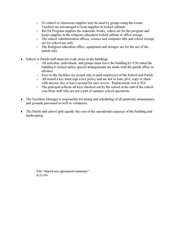 Shared Use Agreement | Immaculate Conception Catholic Church ...