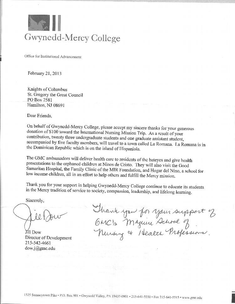 Thank You Letters St Gregory The Great Knights Of Columbus