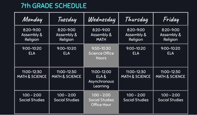 Distant Learning Schedule