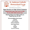 St. Ambrose Catholic Homeschool Co-Op registering for 2021-22 school year