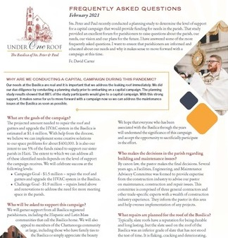 Frequently Asked Questions (FAQ) about the Under One Roof Capital Campaign