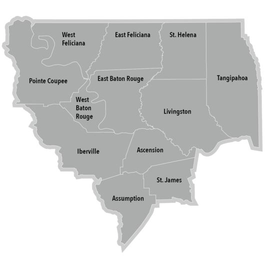 The Diocese of Baton Rouge comprises twelve civil parishes: Ascension, Assumption, East Baton Rouge, East Feliciana, Iberville, Livingston, Pointe Coupée, St. Helena, St. James, Tangipahoa, West Baton Rouge, and West Feliciana