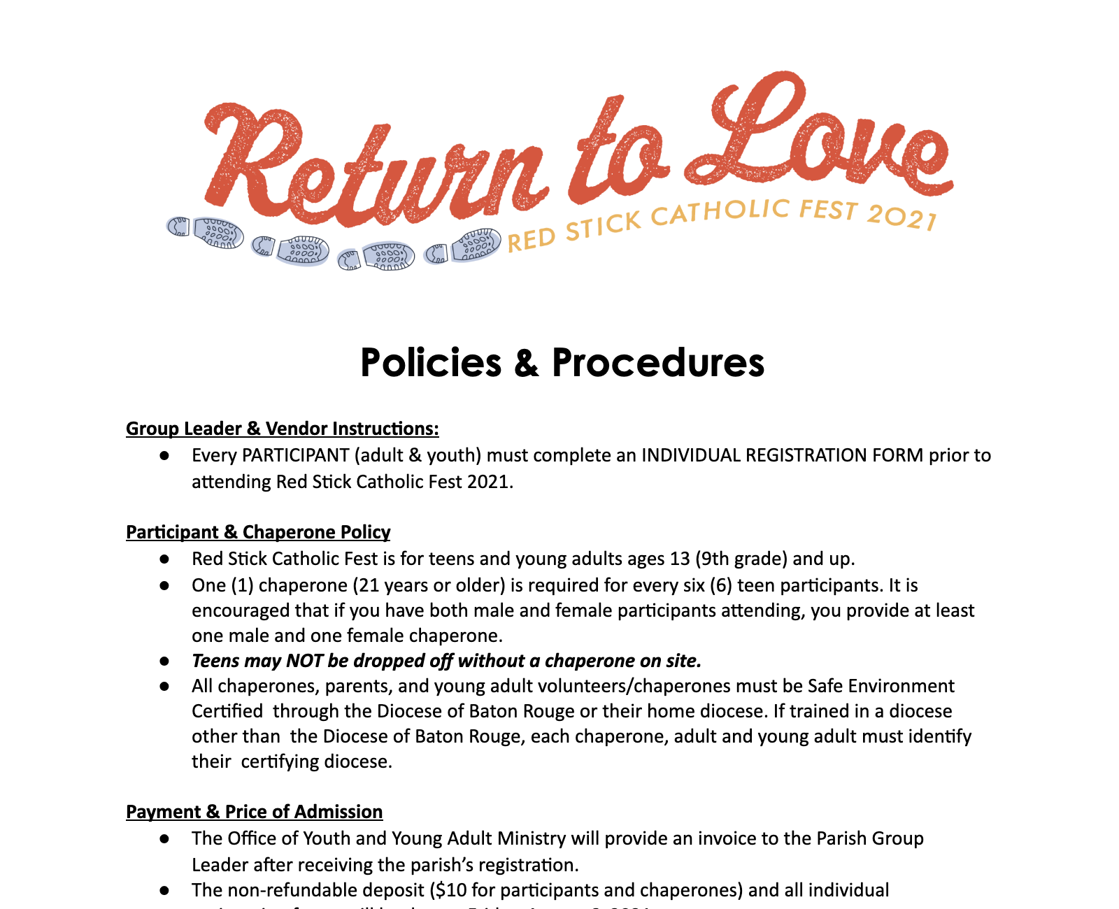Red Stick Catholic Fest Policies and Procedures