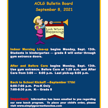 Important info for Monday, September 13th (REVISED)