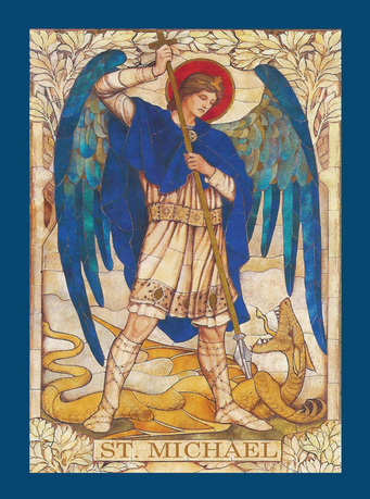 St Michael the Archangel, holding spear at dragon at his feet