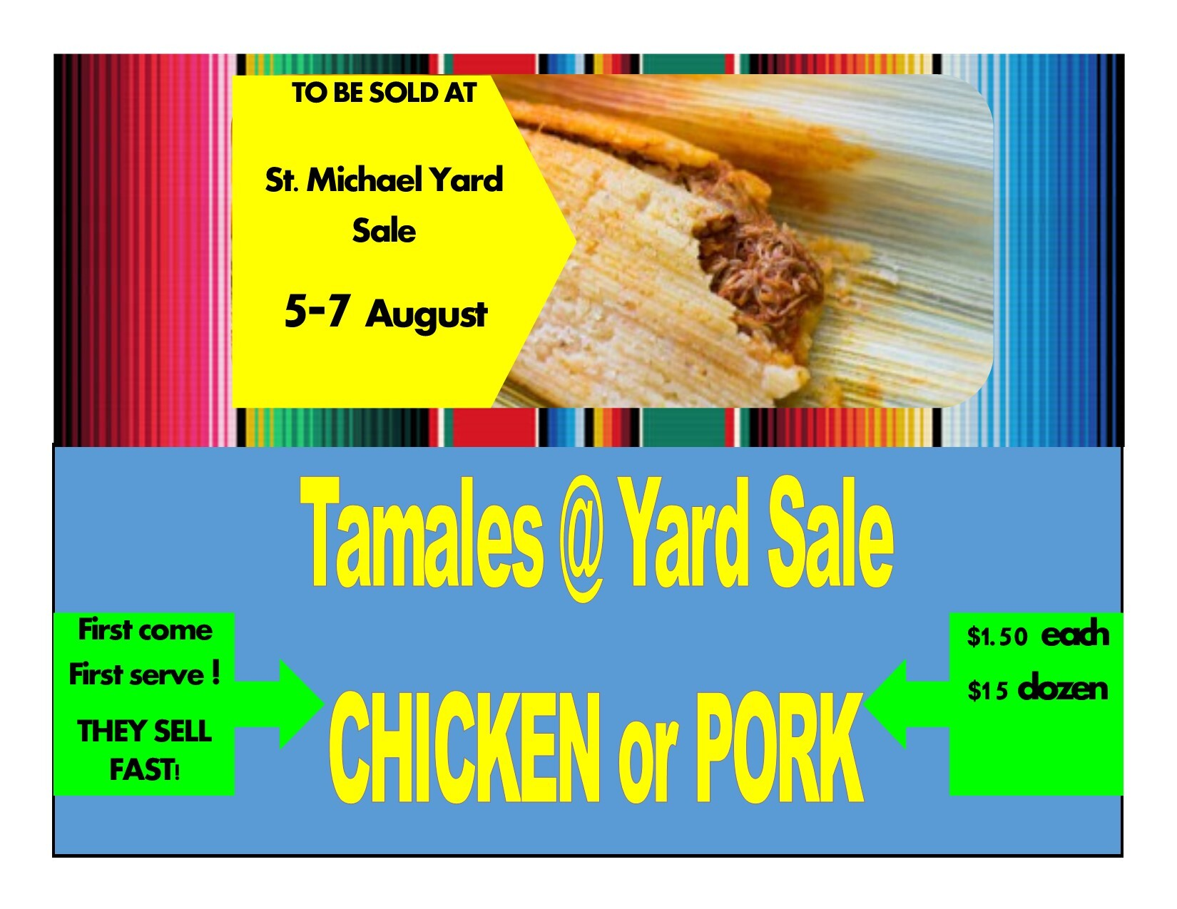 Chicken or Pork Tamales to be Sold