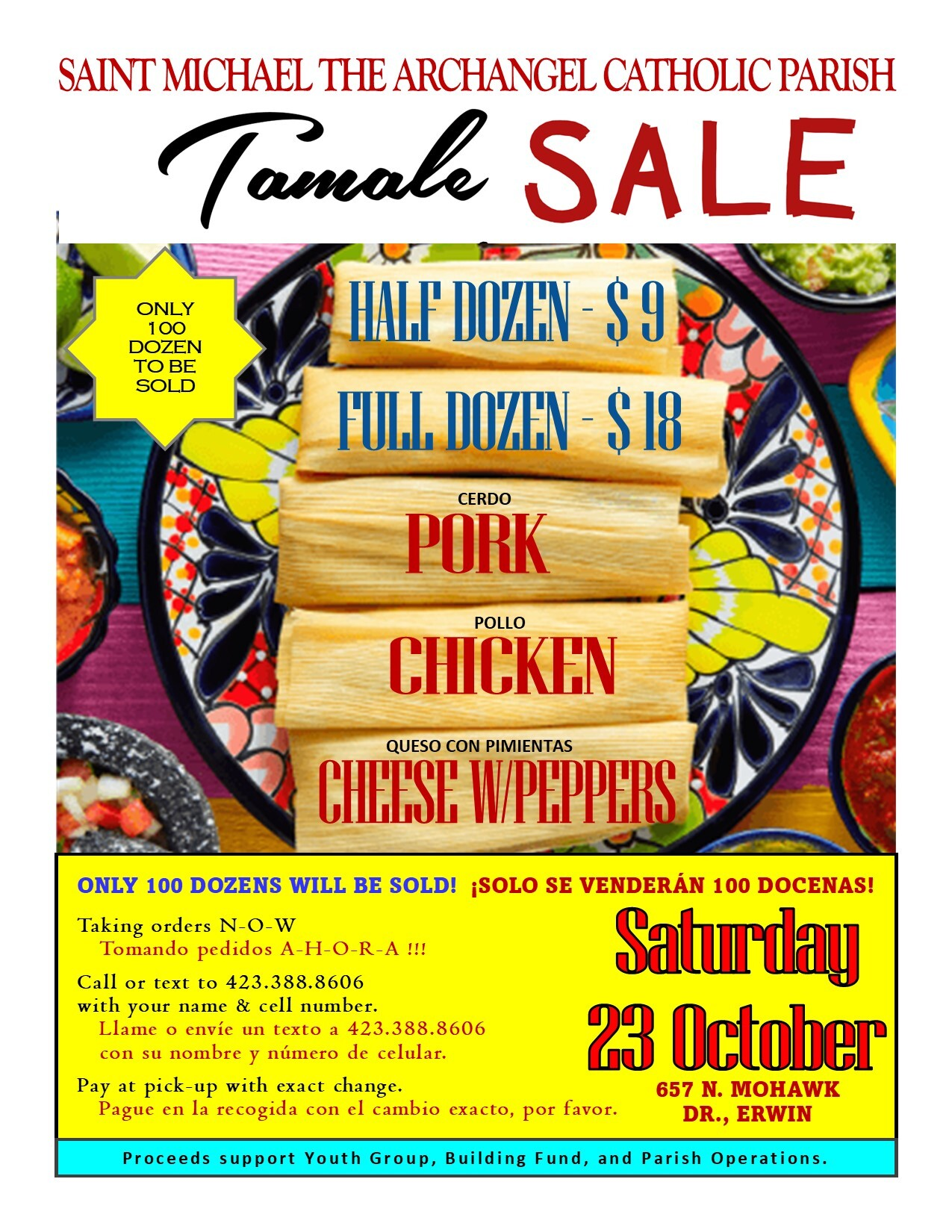 Upcoming Events - Tamale Sale too!  Order NOW!