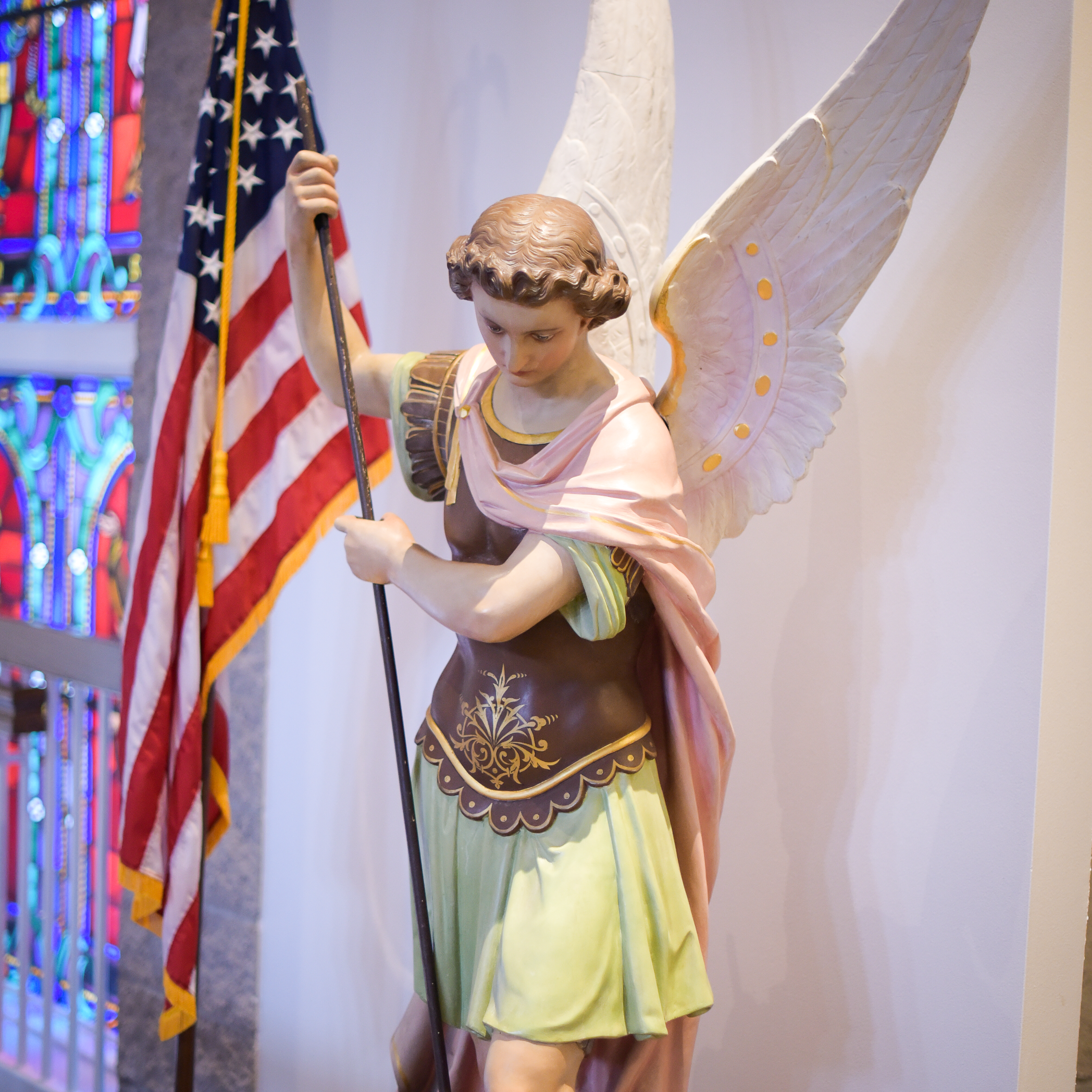 St. Michael the Archangel statue from the second St. Michael Catholic Church, circa 1866