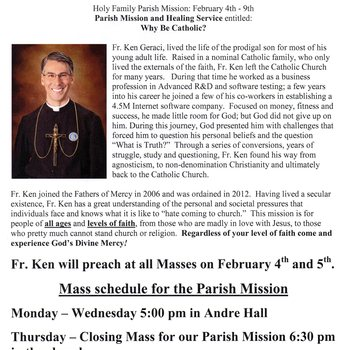Parish Mission and Healing Service - February 4-9