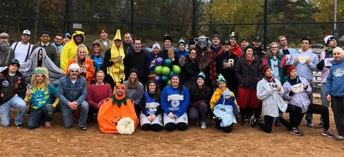Picture of Catholic Softball Group during Halloween Tournament.