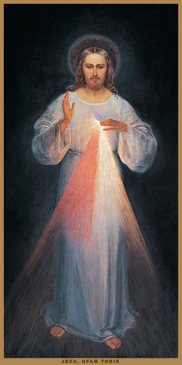 The original Image of the Divine Mercy, painted under the guidance of Saint Faustina by Eugeniusz Kazimirowski
