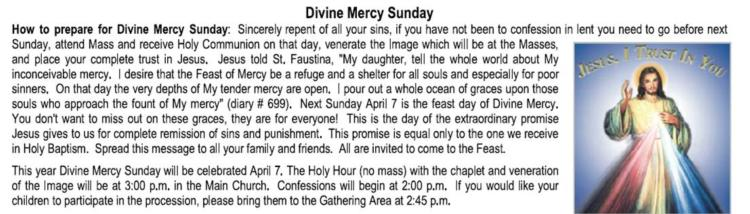Divine Mercy Sunday, April 7th