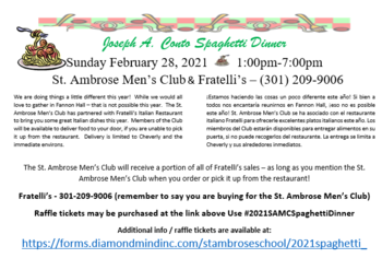 SPAGUETTI DINNER BY ST AMBROSE MEN'S CLUB FROM 1PM TO 7PM