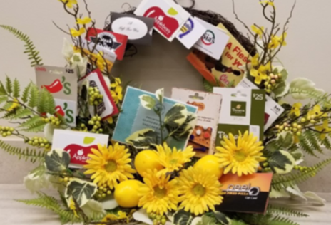 Get Me Out of the Kitchen Restaurant Gift Cards on a Spring Wreath ($395 in gift cards)