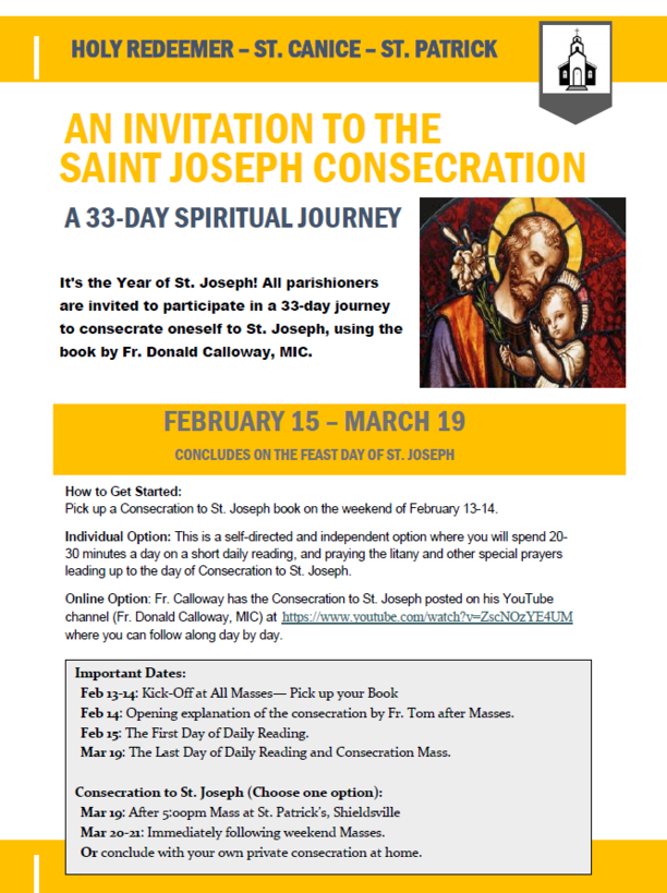 Consecration to St. Joseph! February 15th - March 19th