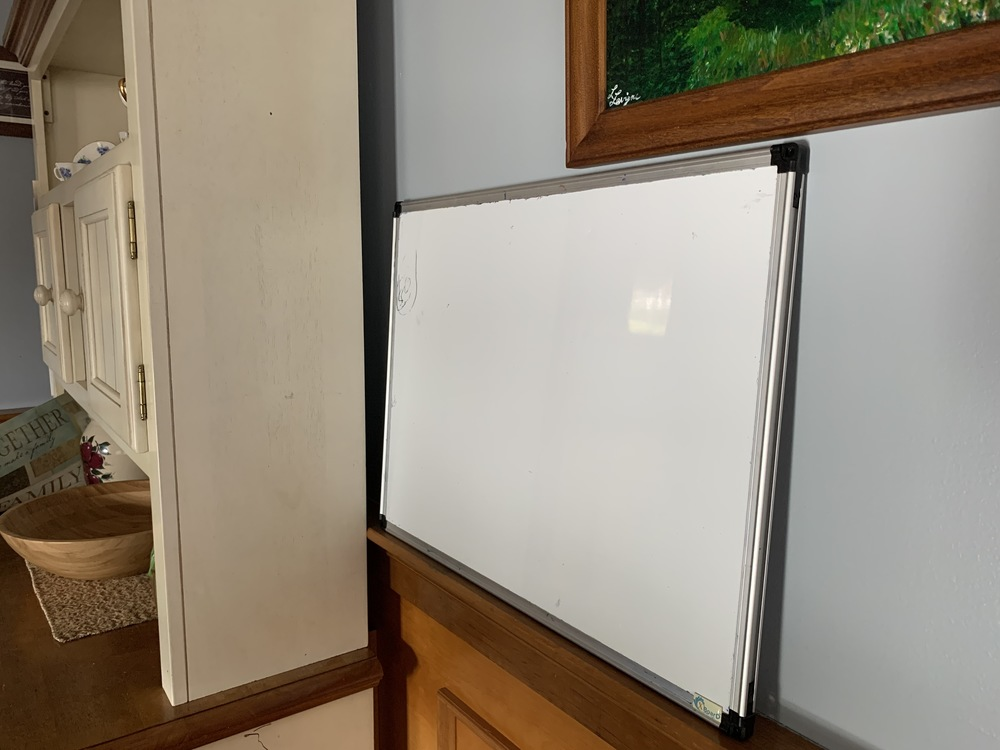 White board that gets used. We have smaller ones as well.