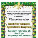 February 25th, A Mardi Gras Celebration at Holy Martyrs honoring POTHE Volunteers!!