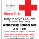 KOC Blood Drive Wednesday, October 14th