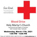 KOC Blood Drive Wednesday, March 17th