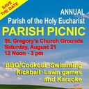 Sign up for Annual Parish Picnic!!  Saturday, August 21, 12 - 3 at St. Gregory