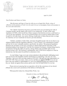 Letter from Bishop Deeley to oppose LD 820