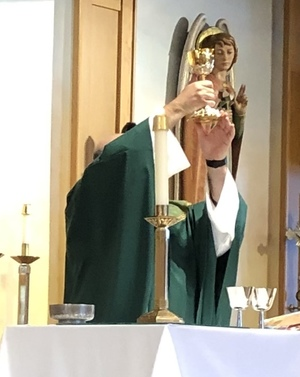 (Fr. Dan celebrating Mass with his new chalice at Holy Martyrs the day after the party.)
