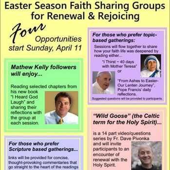 Easter Season Small Faith Sharing Groups starting April 11