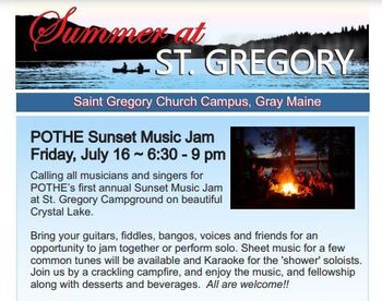 Sunset Music Jam at St. Gregory, Friday, July 16, 6:30 pm