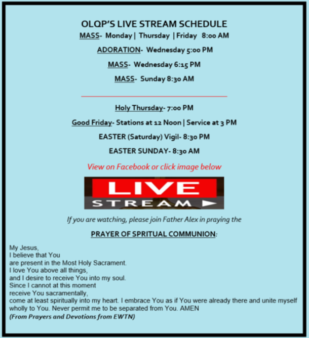Please click on the IMAGE to view the Live Stream Mass