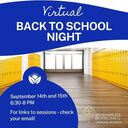Back to School Night - Tuesday and Wednesday 6:30 - 8