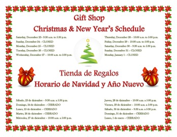 Christmas and New Years Gift Shop Hours