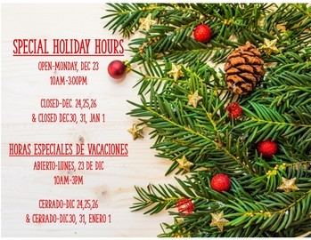 Holiday Hours for 2019-20