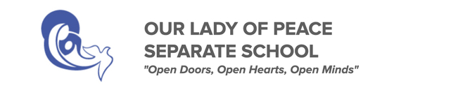 Our Lady of Peace Separate School logo. Click here to be taken to the website.