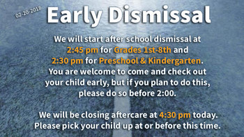 NO SCHOOL 2/21/2018 | Early Dismissal & Aftercare Closing Early (2/20/2018)
